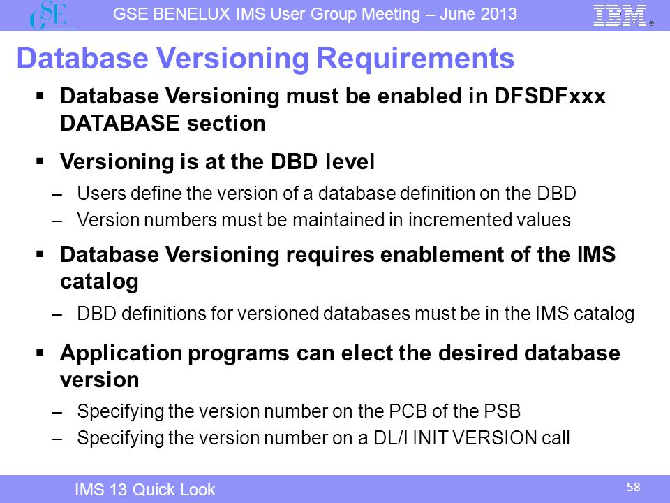 Database Versioning Requirements