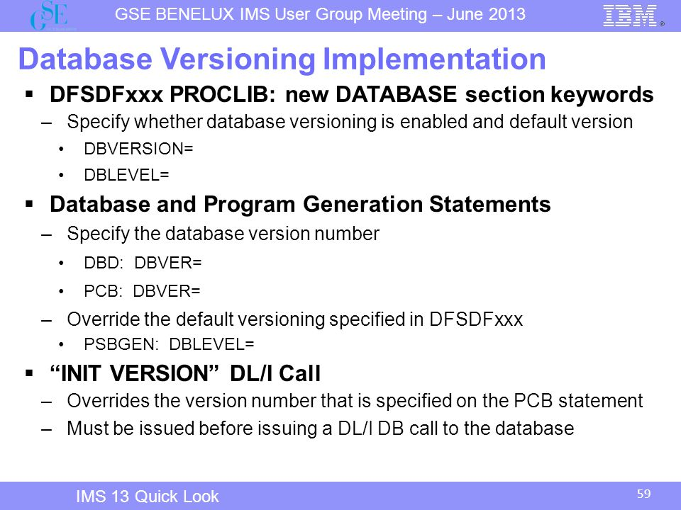 Database Versioning Implementation