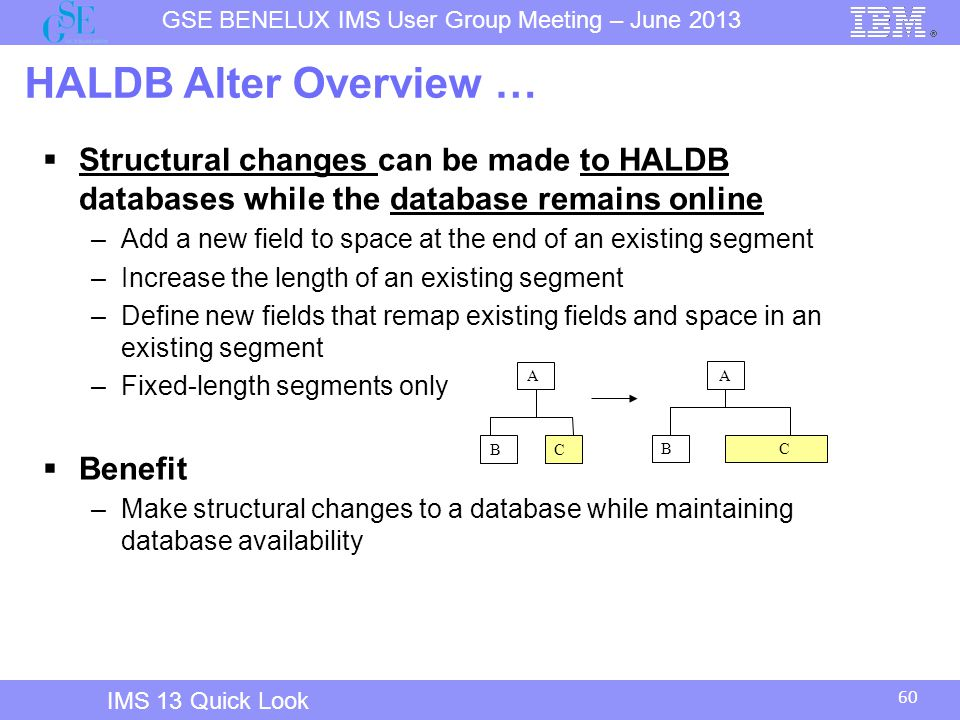 IMS 12 Overview HALDB Alter Overview … Structural changes can be made to HALDB databases while the database remains online.