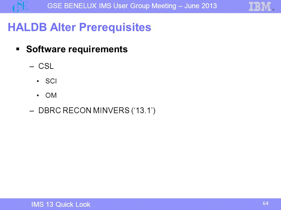 HALDB Alter Prerequisites