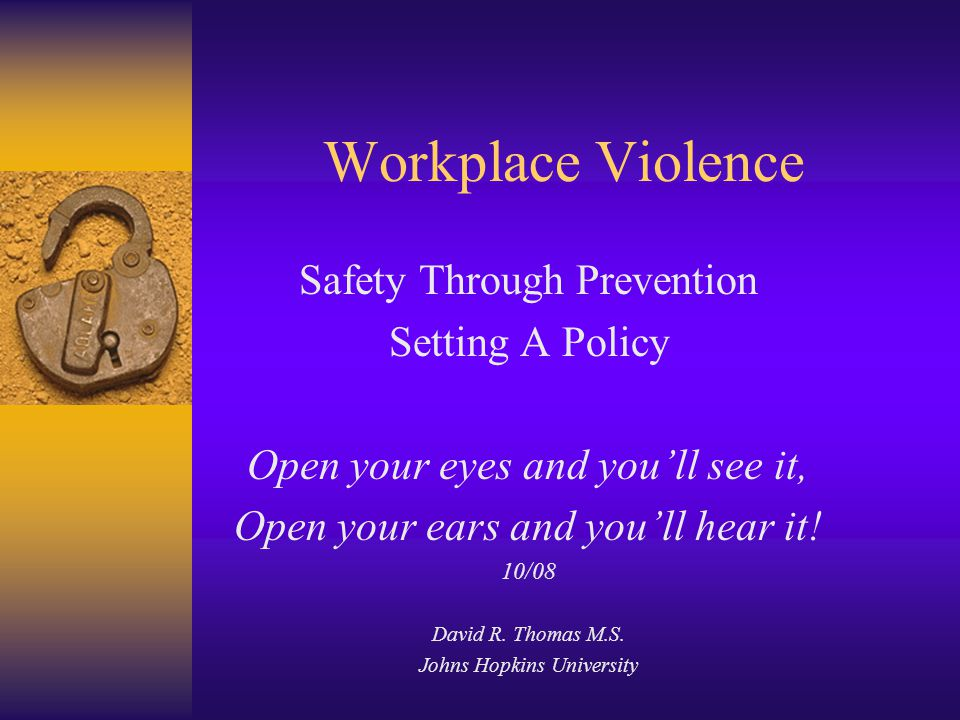 Workplace Violence Safety Through Prevention Setting A Policy