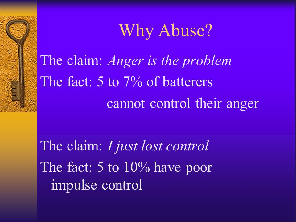 Why Abuse The claim: Anger is the problem