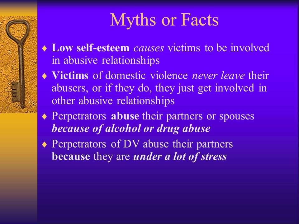 Myths or Facts Low self-esteem causes victims to be involved in abusive relationships.