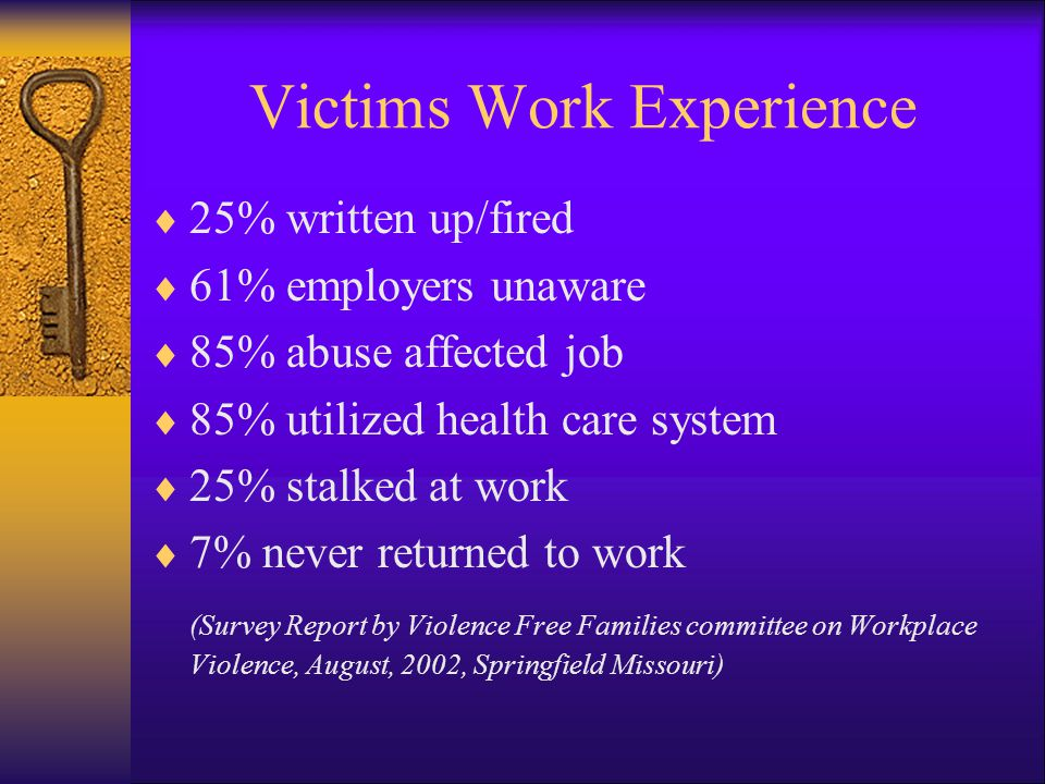 Victims Work Experience
