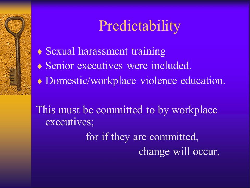 Predictability Sexual harassment training