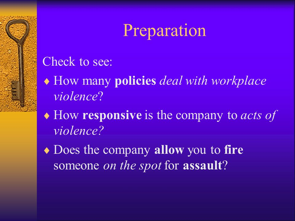 Preparation Check to see:
