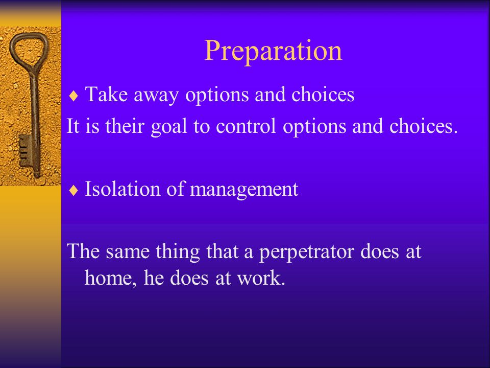 Preparation Take away options and choices