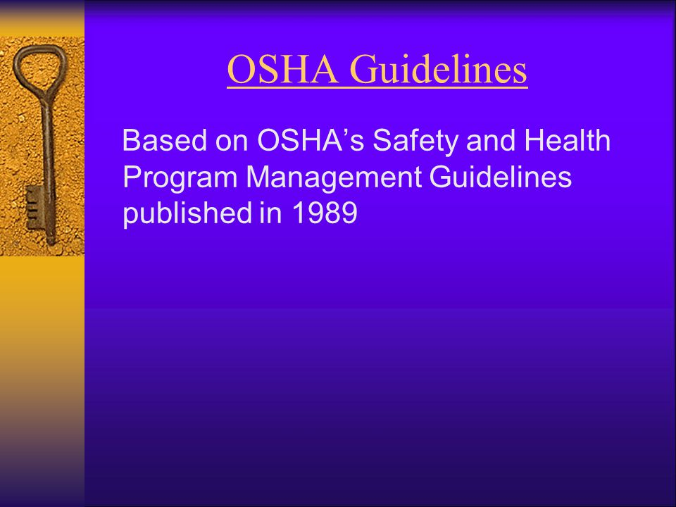 OSHA Guidelines Based on OSHA's Safety and Health Program Management Guidelines published in 1989.