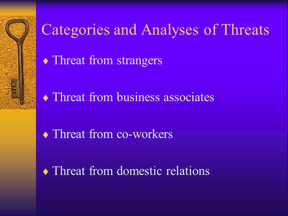 Categories and Analyses of Threats