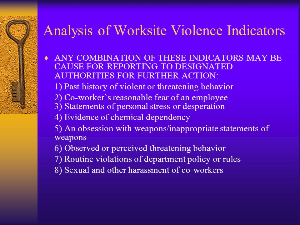 Analysis of Worksite Violence Indicators