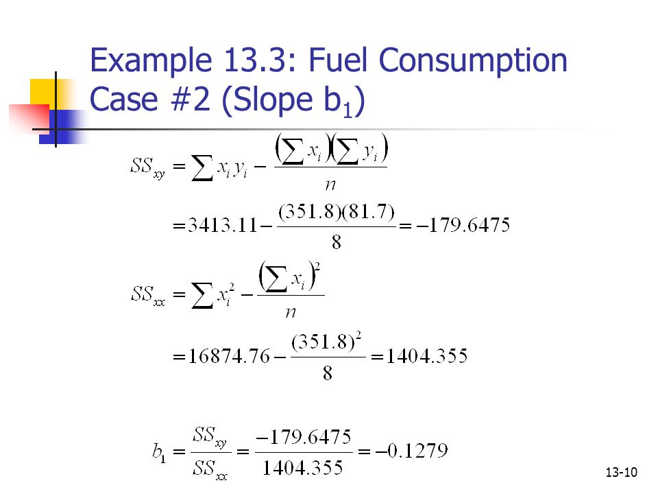 Example 13.3: Fuel Consumption Case #2 (Slope b1)