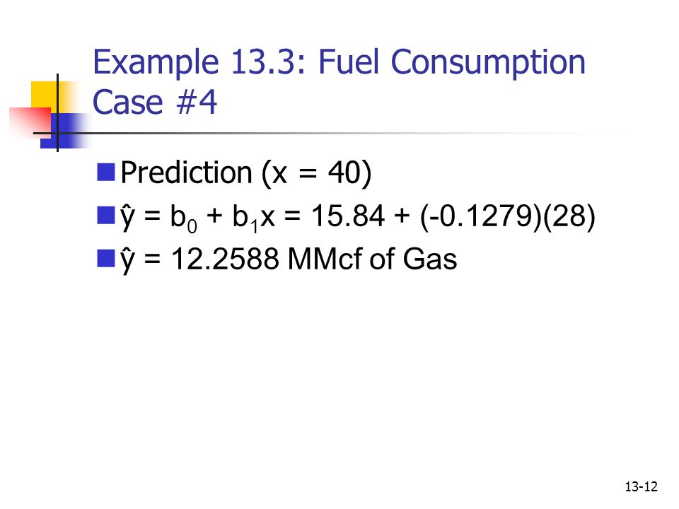 Example 13.3: Fuel Consumption Case #4