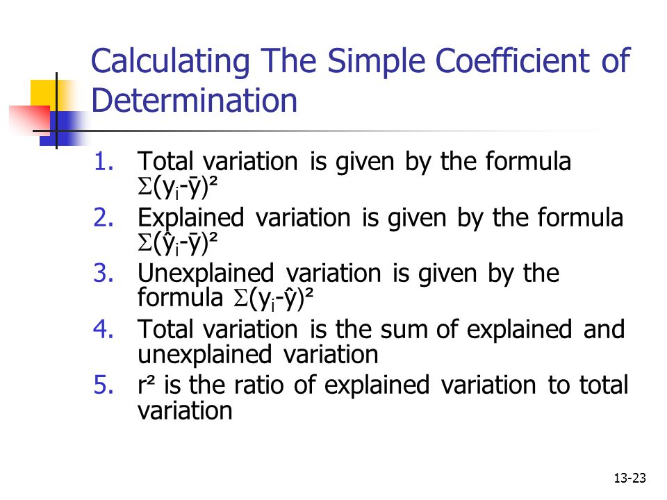 Calculating The Simple Coefficient of Determination
