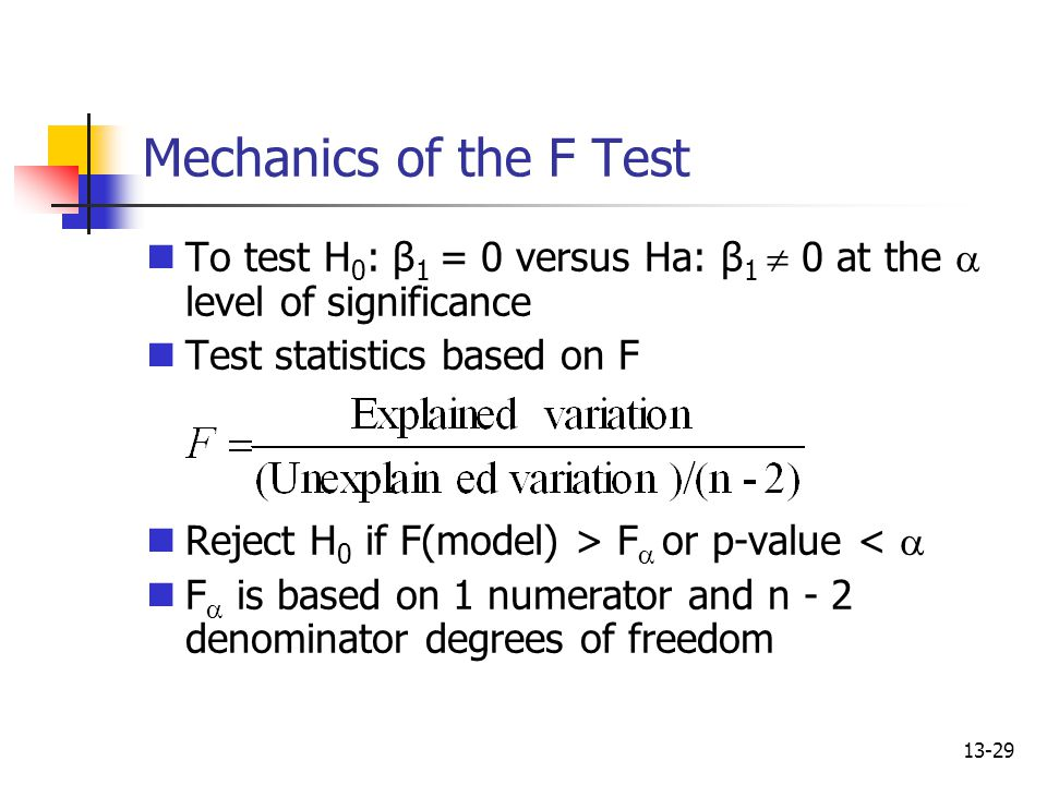 Mechanics of the F Test To test H0: β1 = 0 versus Ha: β1  0 at the a level of significance. Test statistics based on F.