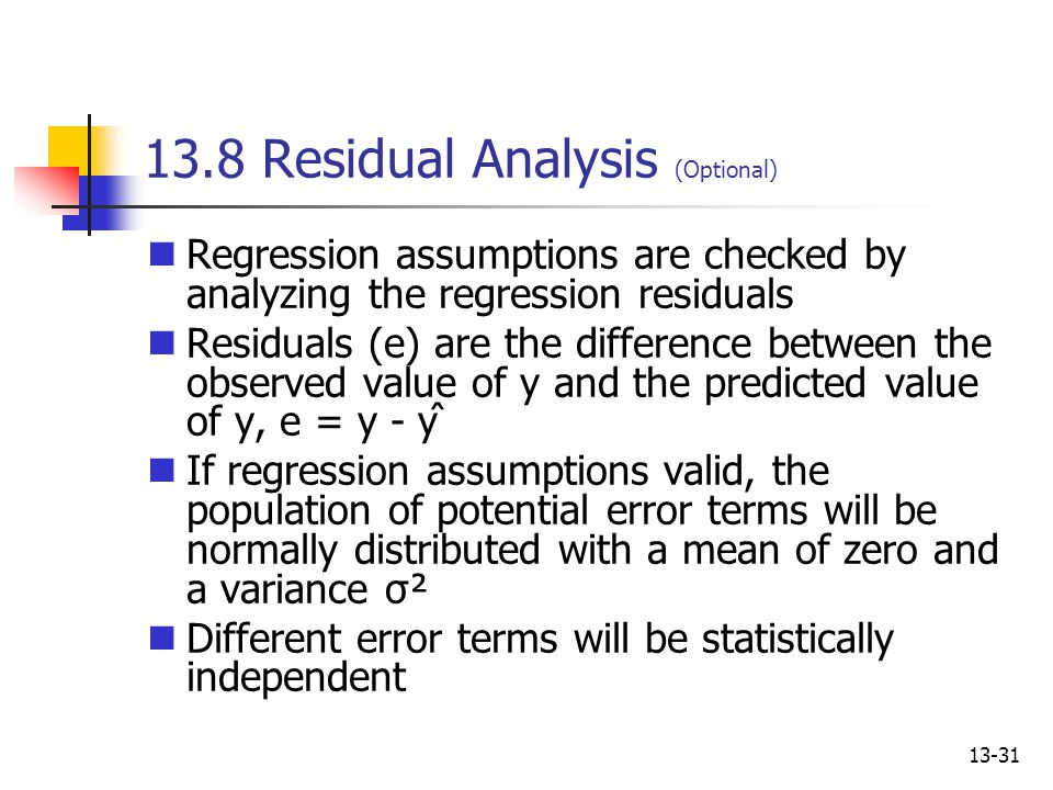 13.8 Residual Analysis (Optional)