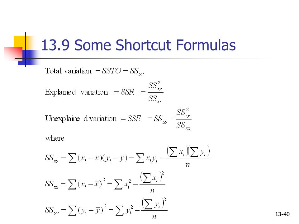13.9 Some Shortcut Formulas