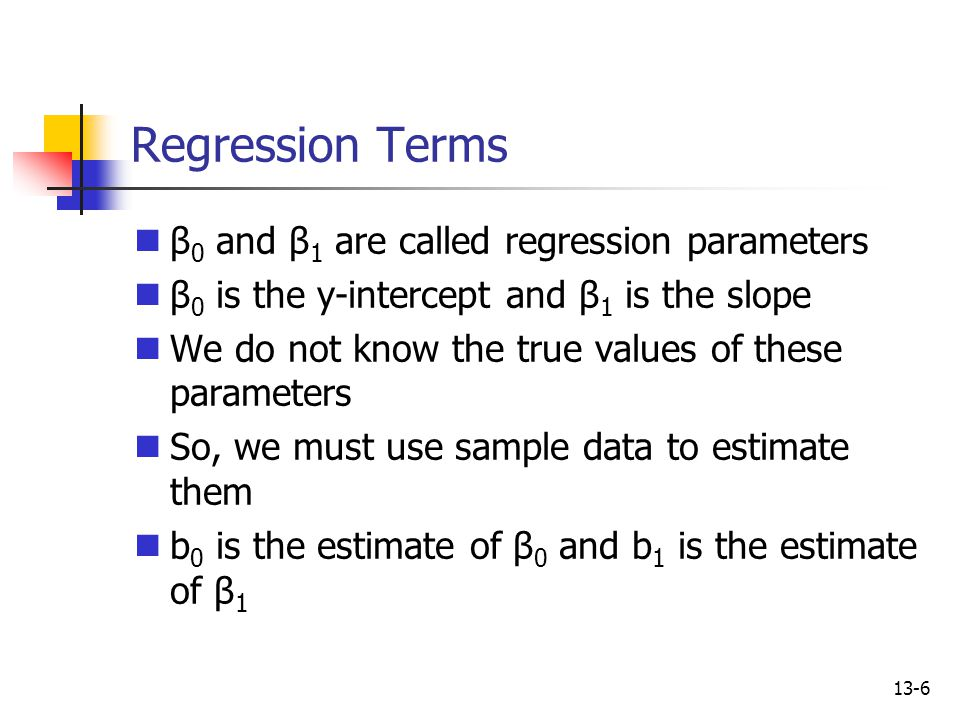 Regression Terms β0 and β1 are called regression parameters