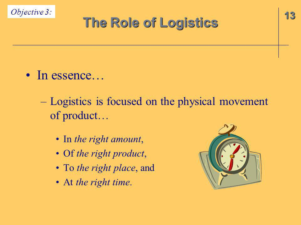 The Role of Logistics In essence…
