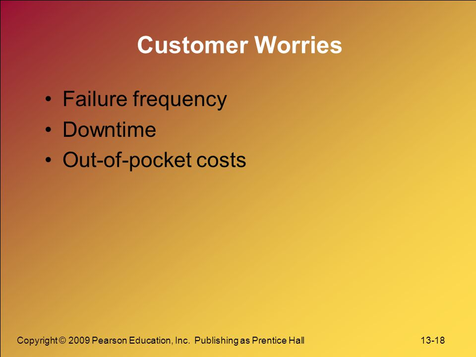Customer Worries Failure frequency Downtime Out-of-pocket costs