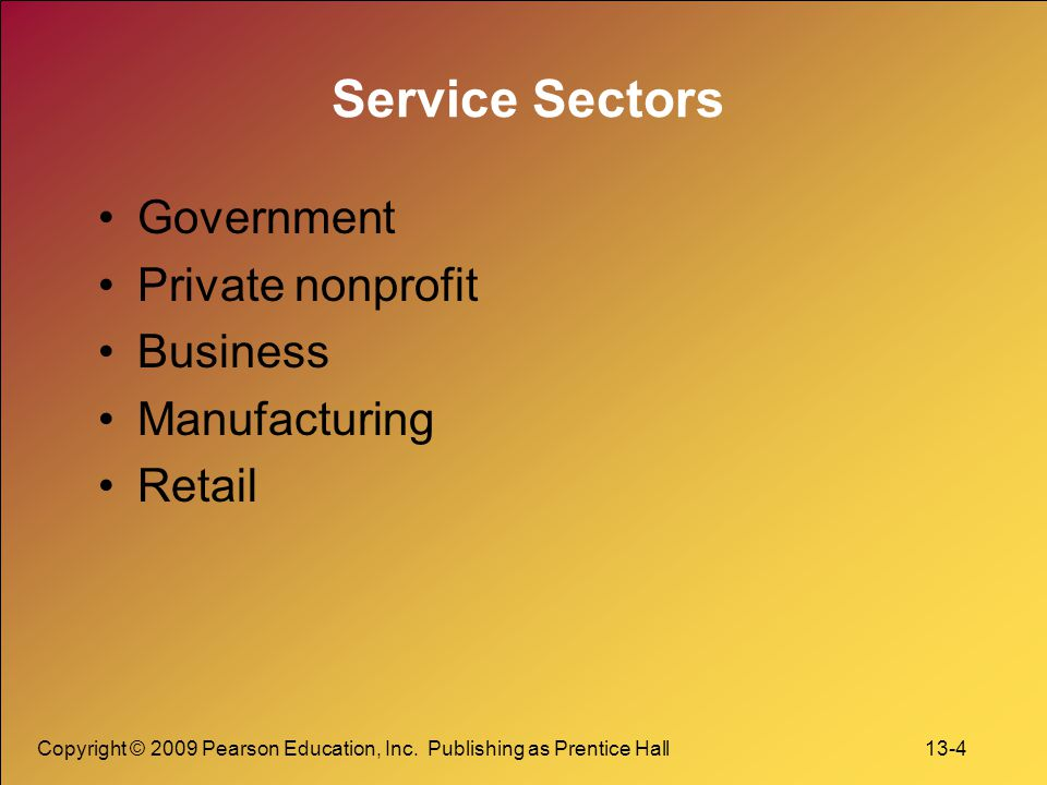 Service Sectors Government Private nonprofit Business Manufacturing