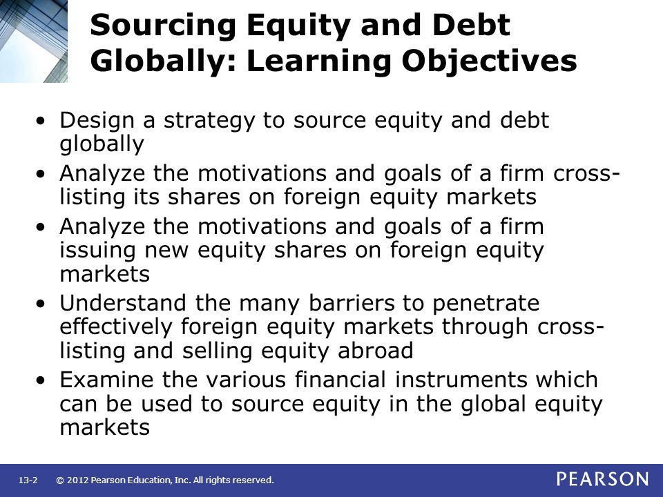 Sourcing Equity and Debt Globally: Learning Objectives