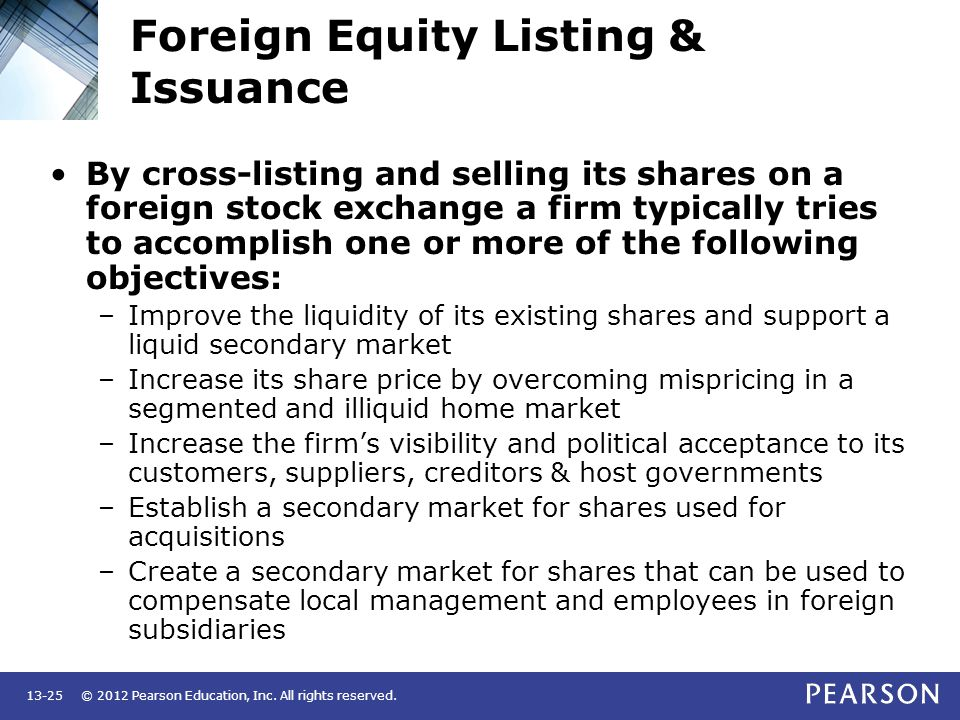 Foreign Equity Listing & Issuance