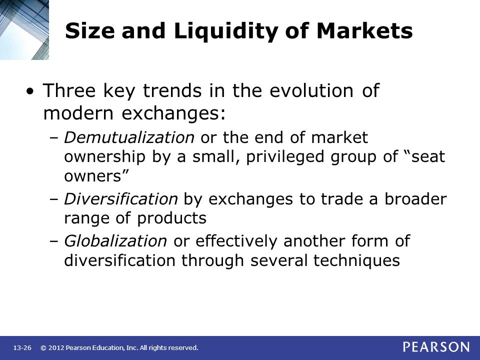 Size and Liquidity of Markets