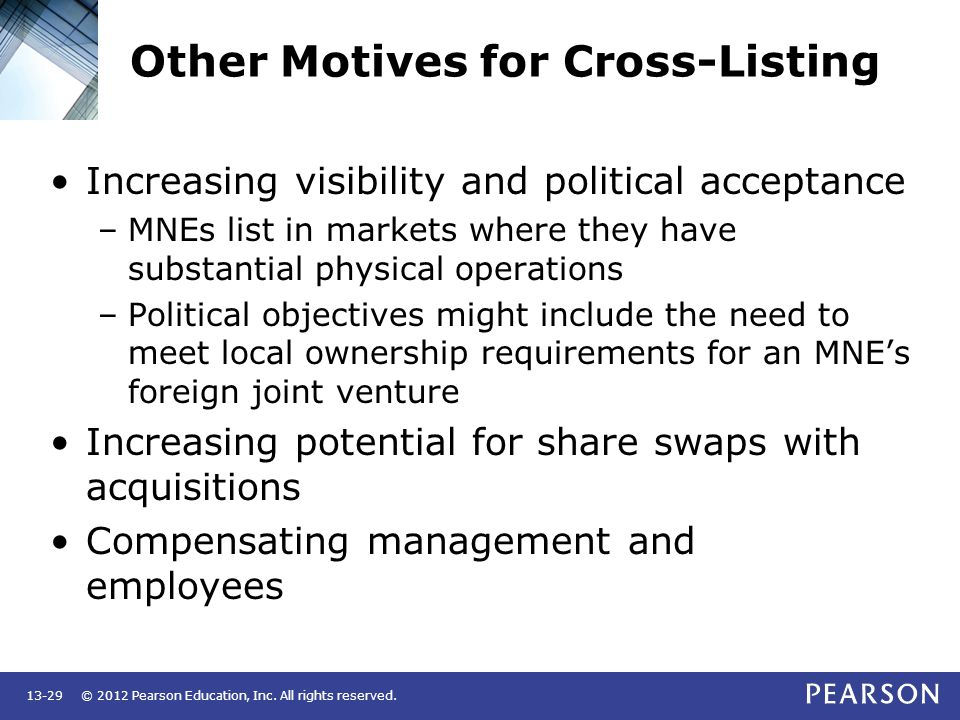 Other Motives for Cross-Listing