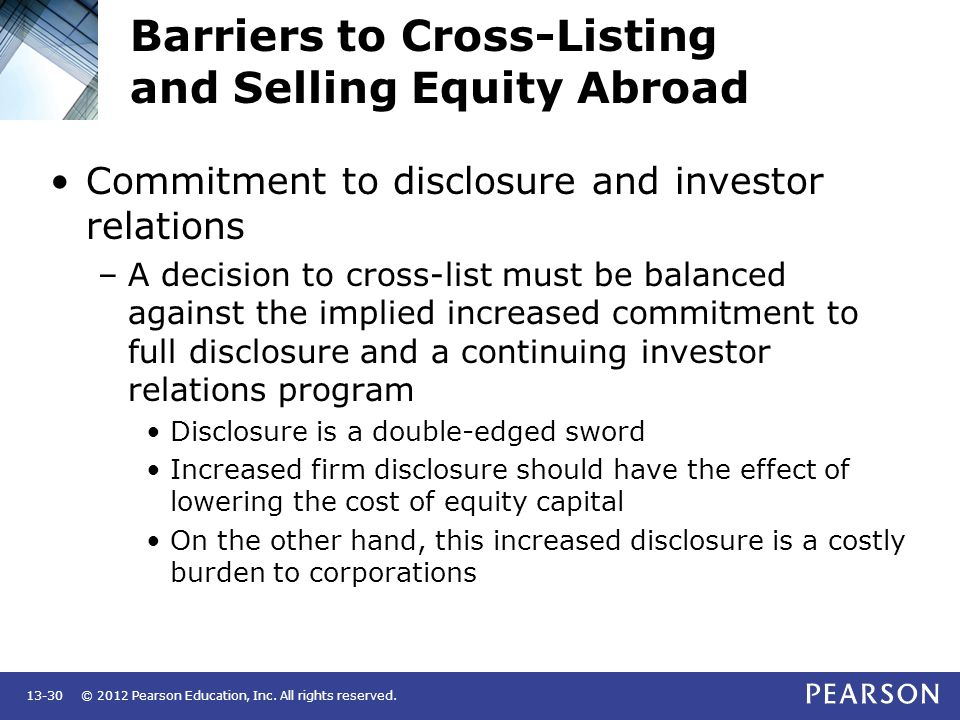 Barriers to Cross-Listing and Selling Equity Abroad