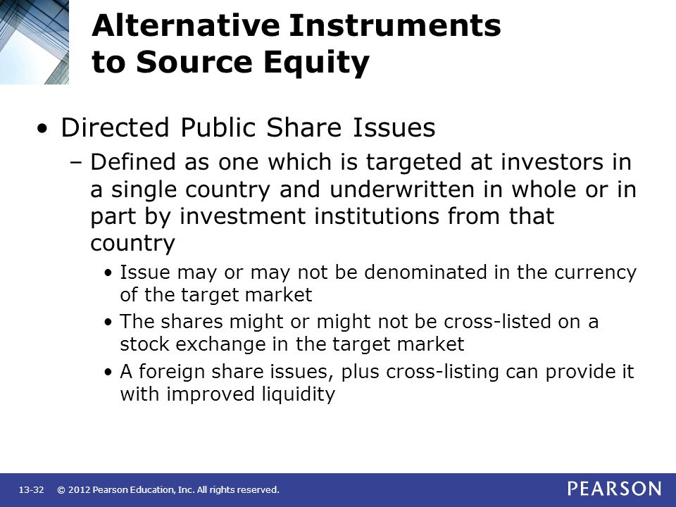 Alternative Instruments to Source Equity