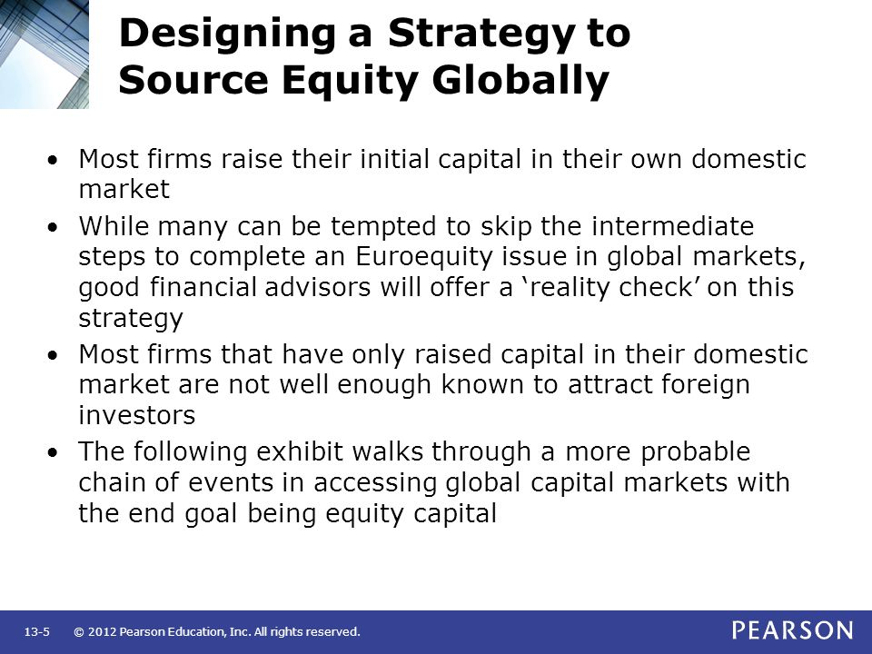 Designing a Strategy to Source Equity Globally