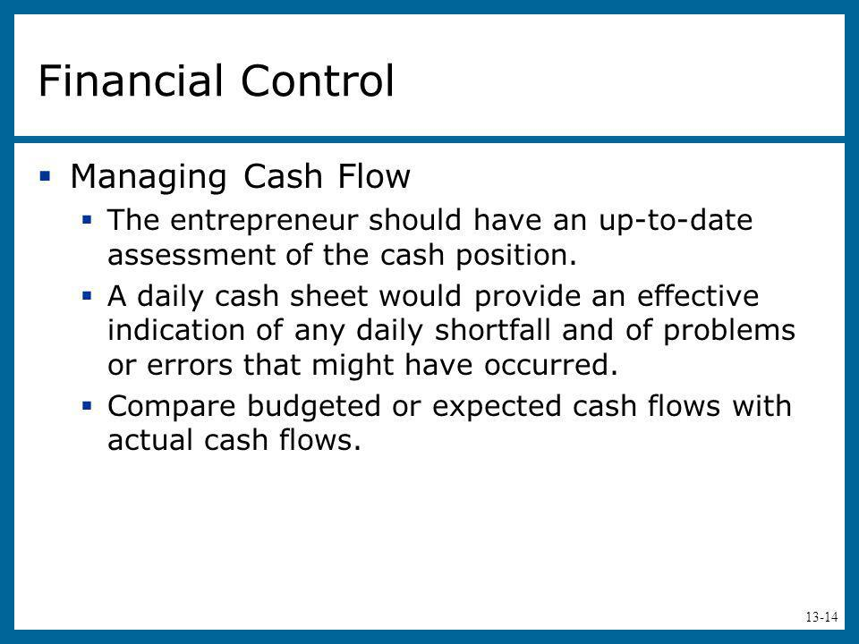 Financial Control Managing Cash Flow