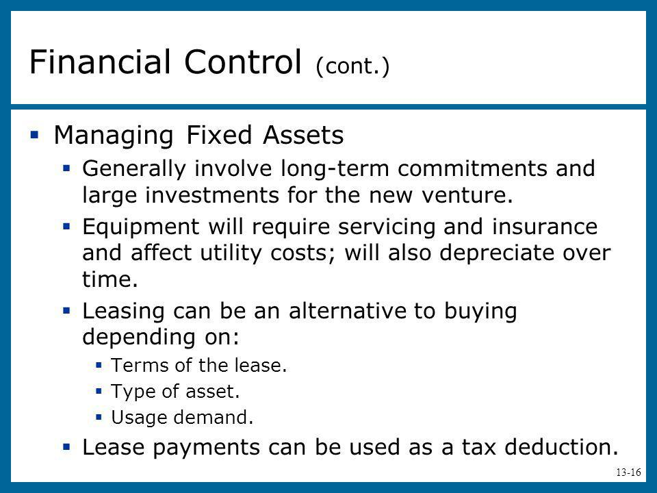 Financial Control (cont.)