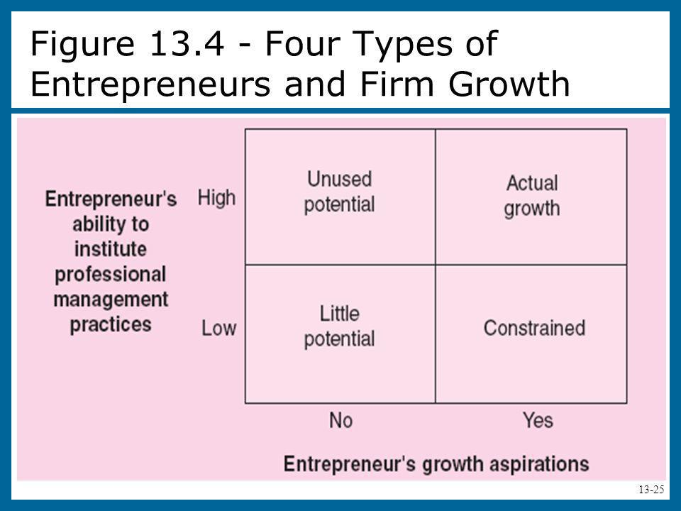 Figure 13.4 - Four Types of Entrepreneurs and Firm Growth