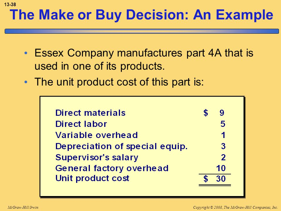 The Make or Buy Decision: An Example