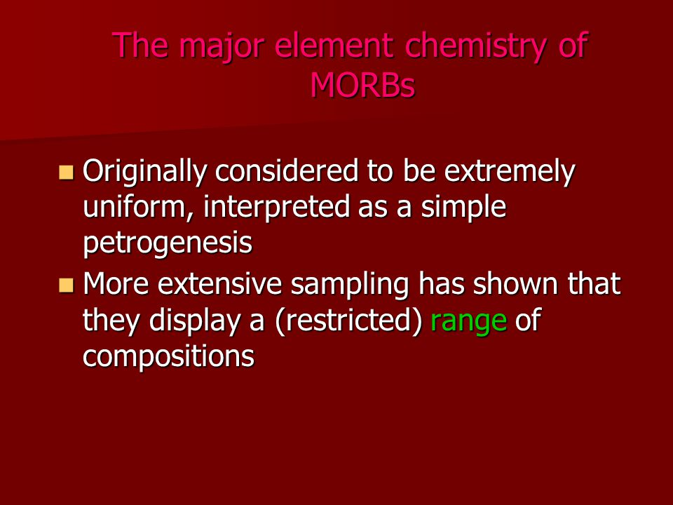 The major element chemistry of MORBs