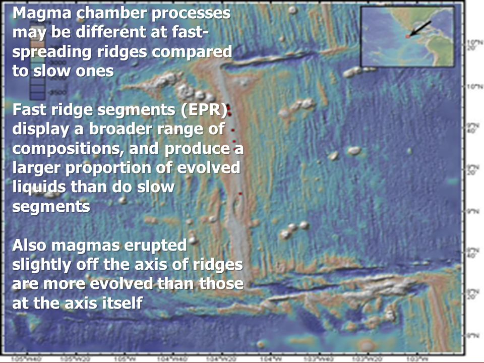 Magma chamber processes may be different at fast-spreading ridges compared to slow ones