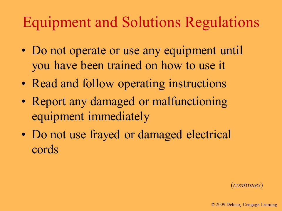 Equipment and Solutions Regulations