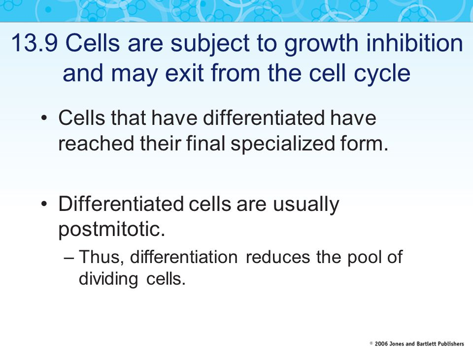 13.9 Cells are subject to growth inhibition and may exit from the cell cycle