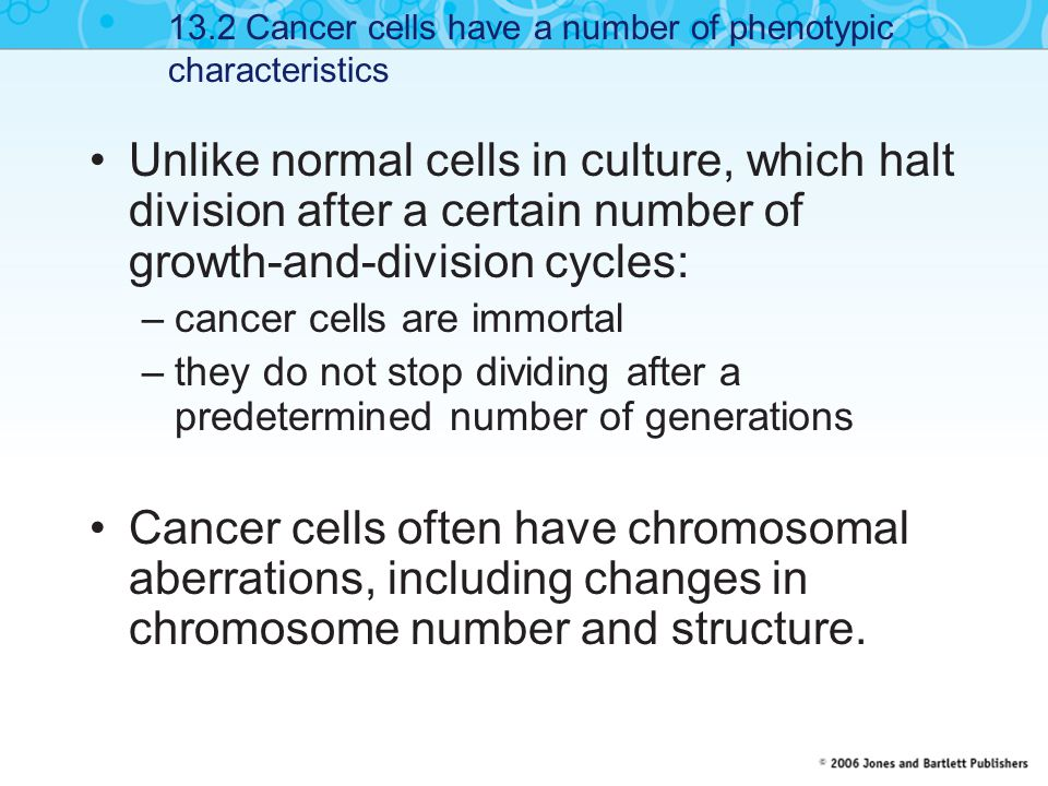 13.2 Cancer cells have a number of phenotypic characteristics