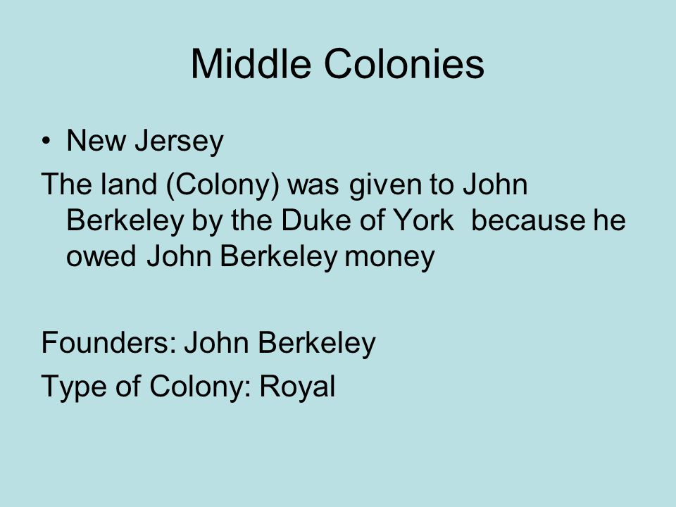 Middle Colonies New Jersey