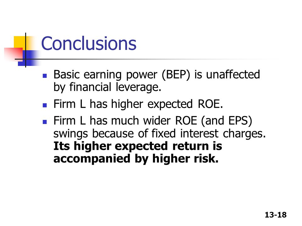 Conclusions Basic earning power (BEP) is unaffected by financial leverage. Firm L has higher expected ROE.