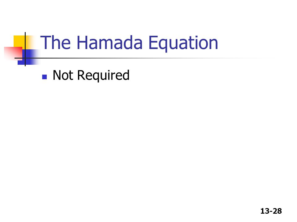 The Hamada Equation Not Required