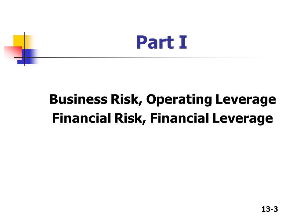 Business Risk, Operating Leverage Financial Risk, Financial Leverage