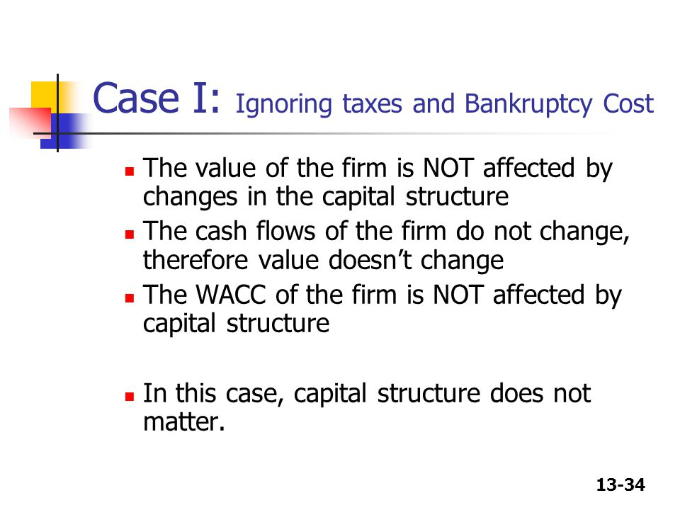 Case I: Ignoring taxes and Bankruptcy Cost