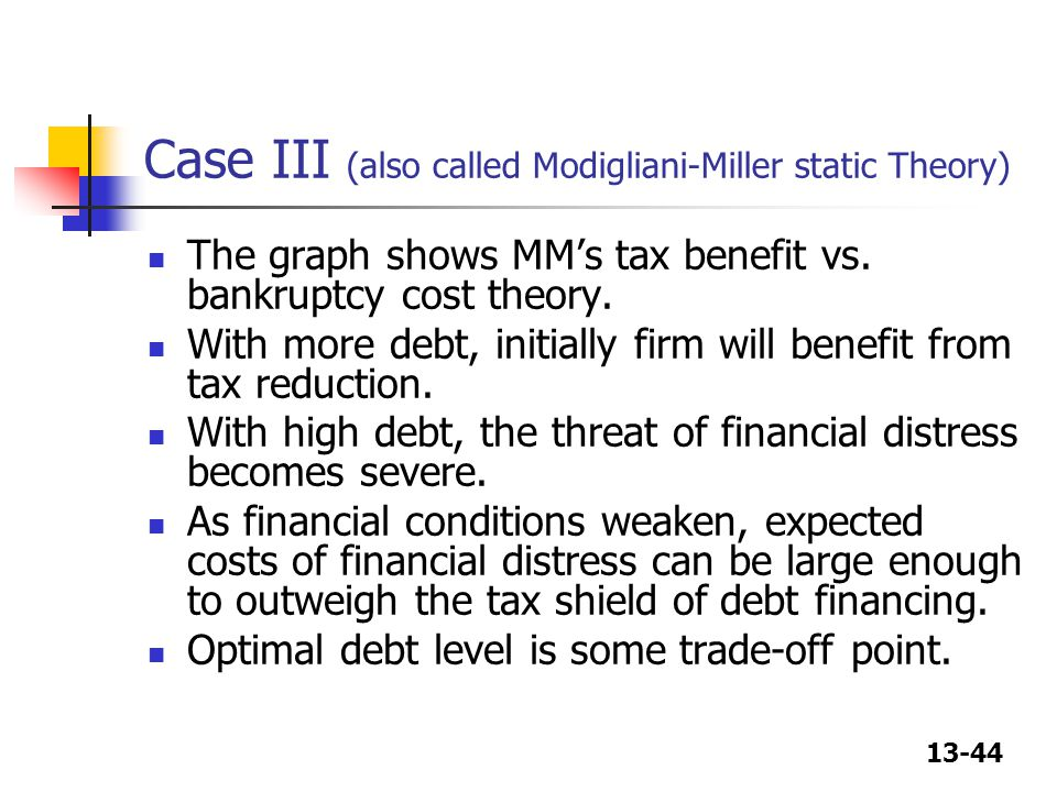 Case III (also called Modigliani-Miller static Theory)