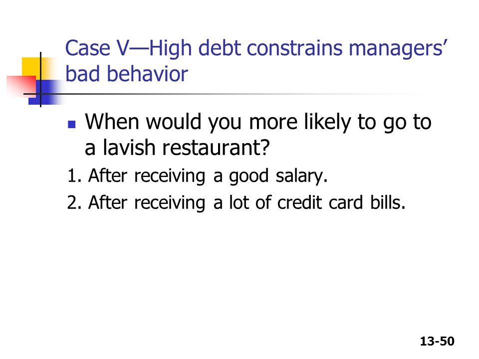 Case V—High debt constrains managers' bad behavior