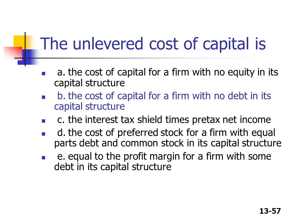 The unlevered cost of capital is