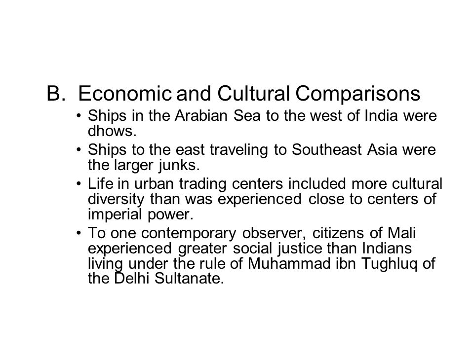 B. Economic and Cultural Comparisons
