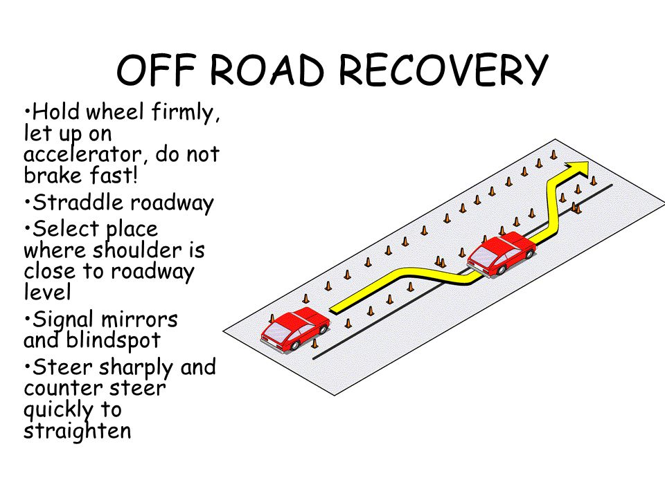 OFF ROAD RECOVERY Hold wheel firmly, let up on accelerator, do not brake fast! Straddle roadway.